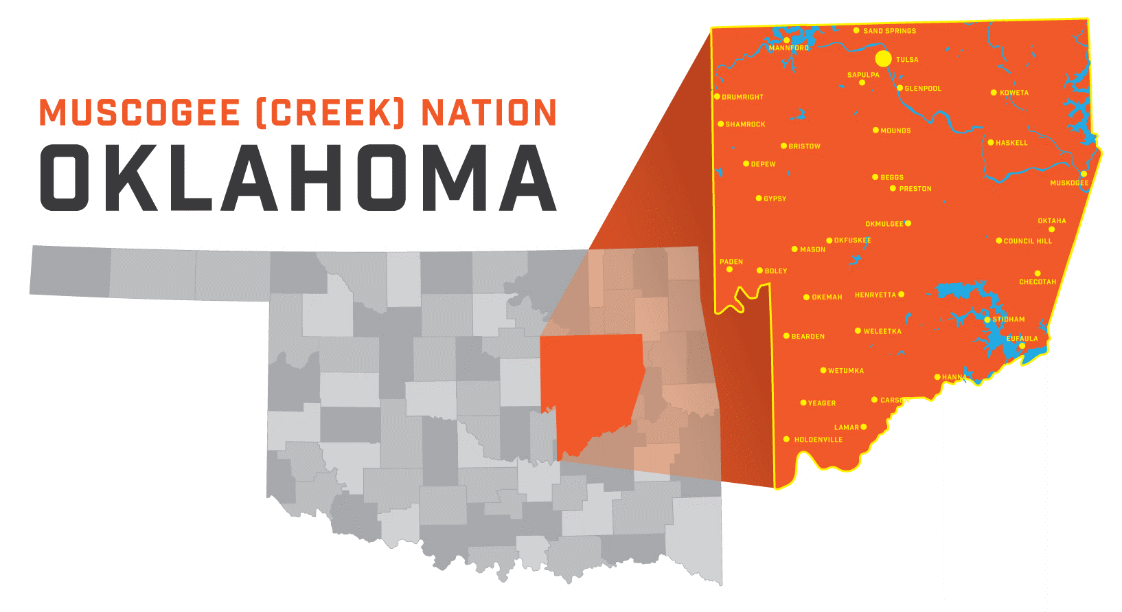 Muscogee Oklahoma nation map